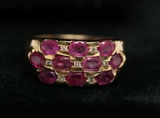 Estate 1.95 Ct. Natural Fine Rubies/0.15 Ct. Diamonds-14K Gold -Size 6.5 mm Ring