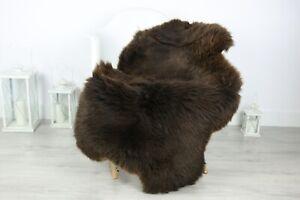 Real Natural English SHEEPSKIN RUG Fur Throw Genuine Sheep Skin Brown #sheb42