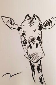 "JOSE TRUJILLO OIL PASTELS Painting ABSTRACT Minimalism 13X19"" ZOO ANIMAL GIRAFFE"