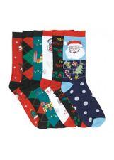 6 Pairs Women Comfort Socks Girls X-MAS DESIGN Crew Pack 9-11 Lot