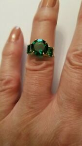 PRETTY 3.73 CT RUSSIAN EMERALD 10KT SOLID YELLOW GOLD RING SIZE 7.5