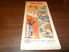 1963 AAA Indiana Vintage Road Map