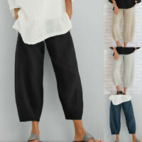 Lady Elastic Waist Pants Cropped Cotton Linen Casual Loose Trousers Plus Size