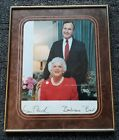 President George H.W. Bush and First Lady Barbara Bush Signed PhotoW/Frame