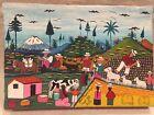 Colombia Primitive/Folk Art Painting on Pig or Llama Skin,Signed Jose Mario Vega