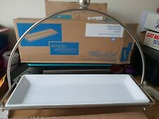 THE PAMPERED CHEF RARE LARGE  RECTANGLE STAND AND DISH  NEW IN BOX