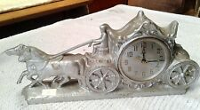 United Mantle Shelf Clock 2 Horses and Carriage Silver Tone Antique