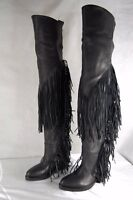 CINZIA ARAIA WOMEN HIGH HIDDEN WEDGE FRINGE OVER THE KNEE BOOTS EU 36 US 6