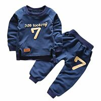 2PCS Toddler Kids Baby Boys Girls Outfits Clothes Sweatshirt Tops+Long Pants Set