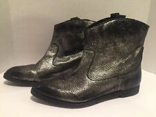 Diesel Flat Ankle Boots Distressed Embossed Leather Pull On Black Silver 40/ 9