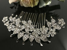 Silver tone hair comb bridal wedding crystal rhinestone hair accessories ha3203