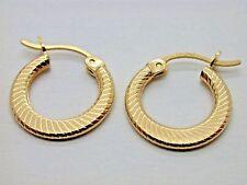 Flat Lined Hoop Earrings (J1V) Genuine Brand New 10kt Yellow Gold