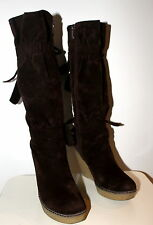 GALAX brown wedge suede boots women Eur 36 US-Aus 5.5 UK 3.5 Used from Italy