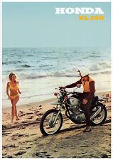 HONDA Poster XL350 Motosport Beach Scene 1973 Suitable to Frame