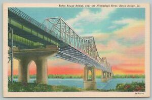 Baton Rouge Louisiana~Bridge Over Mississippi River~1940s Linen Postcard