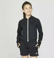 NWT Umbro Girls Black Zip Up Track Jacket~Size Small (6-6X)~Free Shipping!