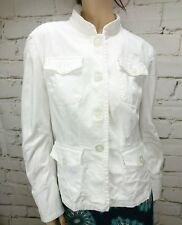 Portmans Jacket White Size 14 Cotton Elastane Pockets Long Sleeves Casual