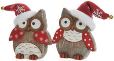 Set Of 2 Wooden Red & White Nordic Christmas Owls In Santa Hats