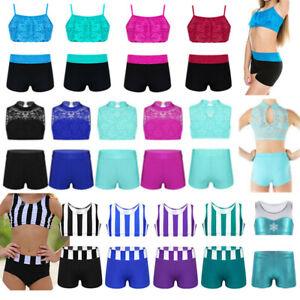 2-Piece Girls Dancewear Lace Bra Top+Bottoms Outfit for Gymnastics Sport Costume