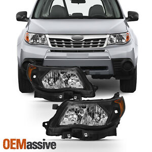 Fits 2009-2013 Subaru Forester Black Halogen Headlights Complete Replacement Set