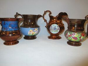 4 Antique Decorated Assorted Copper Lusterware Pitchers