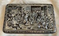 Vintage Teniers 3D Tin Box Dancing People Dog Socializing Rectangular Shape