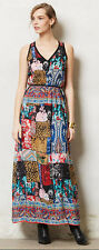 TOLANI ANTHROPOLOGIE BOHEME 100% SILK PATCHWORK PRINT MAXI DRESS L
