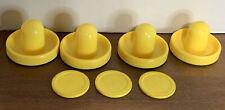 Yellow Air Hockey Puck Pushers & Pucks