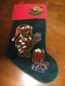Velvet Christmas Stocking, Sequinned Teddy Bear and Gifts, Dark Green and Red, 1