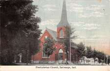 LaGrange Indiana Presbyterian Church Street View Antique Postcard K14476