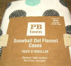 2 Pottery Barn Teen Flannel  Snowball Dot Pillow Cases Standard Pool Black White