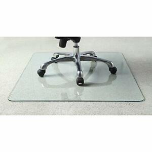 "Lorell Tempered Glass Chairmat Chair Mat 60"" Clear"