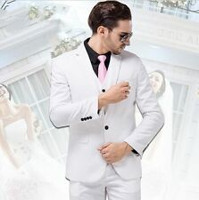 White 3 Piece Men's Wedding Suits Bridal Groom Suits Formal Tuxedos Custom Made