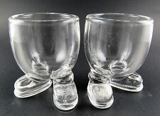 SET OF 2 VINTAGE CLEAR GLASS EGG  CUPS HOLDERS ARC FRANCE (E29)