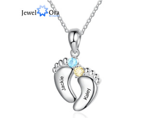 Personalized 2 Name Mother Necklace With Birthstone Feet Pendant Gift For Family