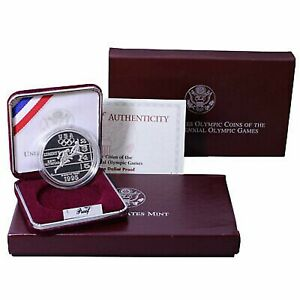 1995 P Atlanta Olympic Track and Field US Mint Proof Silver Dollar Coin w/ Box