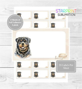 Rottweiler Dog 42 Self Adhesive Stickers, Blank For Address Labels/Fun Gift Tags