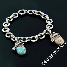 Aaron Basha 18K White Gold Blue Boy & Pink Girl Diamond Baby Shoe Charm Bracelet