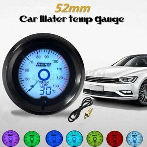 2'' 52mm LED Light Car Water Temperature Gauge Digital Meter 7 Color Universal