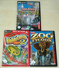 3 pc giochi collezione Monopoly Tycoon-Rollercoaster Tycoon 2-Zoo Tycoon