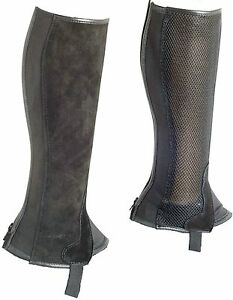 Genuine Suede Leather With Mesh Horse Riding Chaps - Black