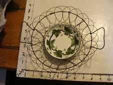 Antique Wire Egg Basket with dish-- with EARLY Wedgewood Napoleon Ivy dish