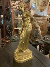 Original Period French Gilded Bronze Statue Maiden S. Descomps
