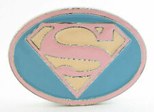 SUPER HERO S SUPER MAN SUPERGIRL FADED LOGO BELT BUCKLE DC SUPERMAN SNAP BELT
