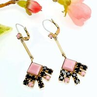 Vintage Pink & Black Glass Drop Earrings with Silver Wires