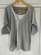 Next Grey Knitted Top With Mock T-shirt, Size 20