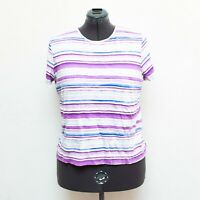 Croft & Barrow Classic Tee Shirt Womens Sz XXL Purple Blue Striped Short Sleeve