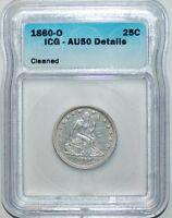 1860 O ICG AU50 Details Seated Liberty Quarter