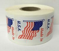"""MADE IN U.S.A. 1.5"""" x 1.5"""" American Flag Decals Stickers Laminated 500 Labels"""