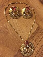 Indian Ethnic Temple Jewelry Gold Plated Pink Laxmi Coin Necklace Pendant Set